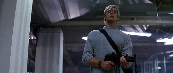 Terrorist from the movie Die Hard holding an H&K MP5A3