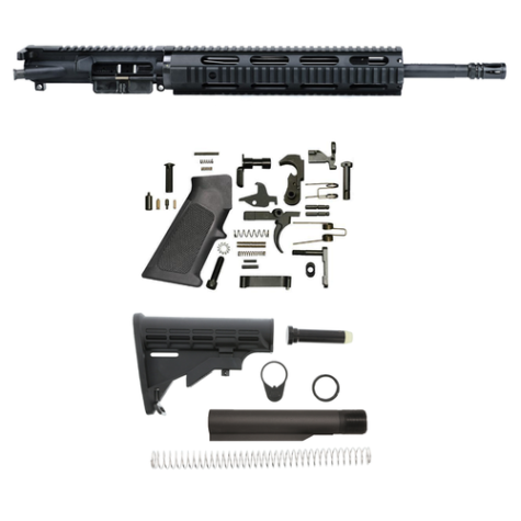 16″ AR 15 Rifle Build Kit With Quad Handguard