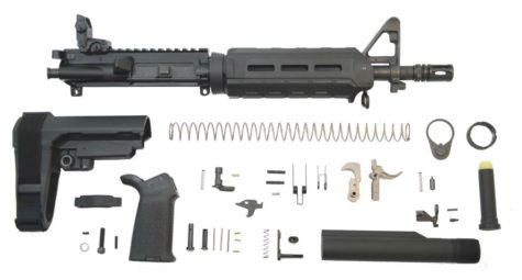 "PSA 10.5"" Carbine-Length 5.56 NATO 1/7 Phosphate MOE SBA3 Pistol Kit with NIBR BCG & MBUS Rear"